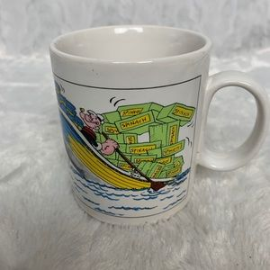 Popeye Sailor Cartoon Strip Spinach Mug Cup 1980
